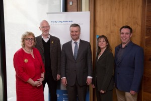 From left to right: Jane Ohlmeyer, Director of the Trinity Long Room Hub; William Sargent, CEO, Framestore; Patrick Prendergast, Provost, TCD; Jennifer Edmond, Co-Director, TCD DH Centre and Owen Conlan, Co-Director, TCD DH Centre