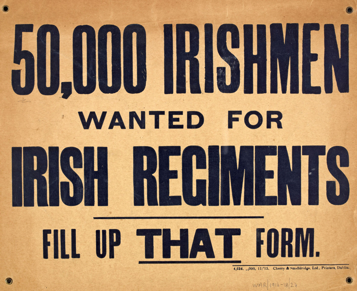 50,000 Irishmen wanted