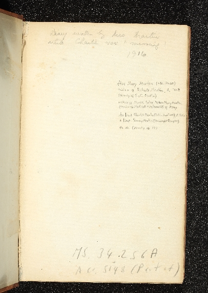 Inside page stating it is the diary of Mary Martin