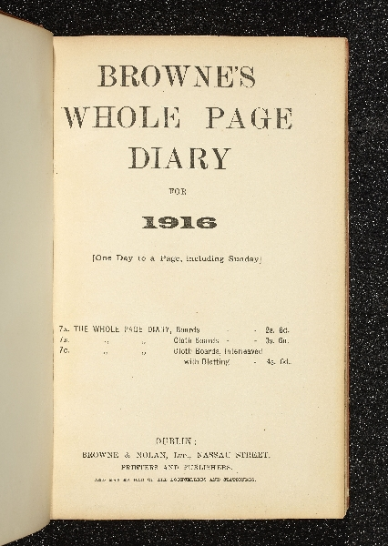 Diary title page