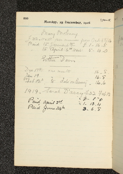 Payments to Mary Moloney, Esther Davis and Sarah D'Arcy