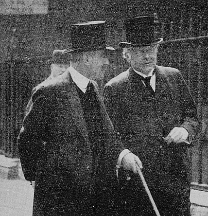 Under Secretary Sir Matthew Nathan and Chief Secretary to the Lord Lieutenant of Ireland Augustine Birrell leaving the Royal Commission into the events of the Rising