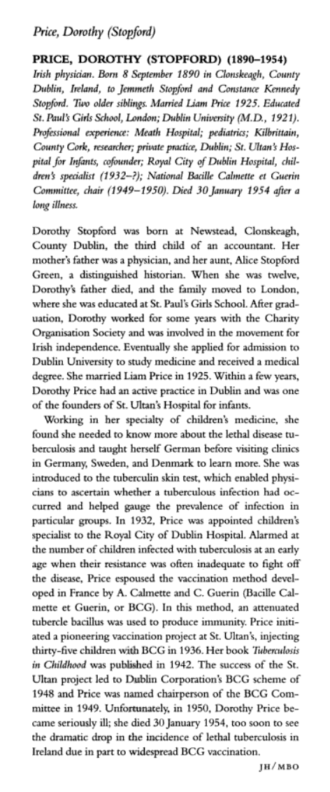 Dorothy Stopford Price biography note from The Biographical Dictionary of Women in Science L-Z (Taylor & Francis, 2000).