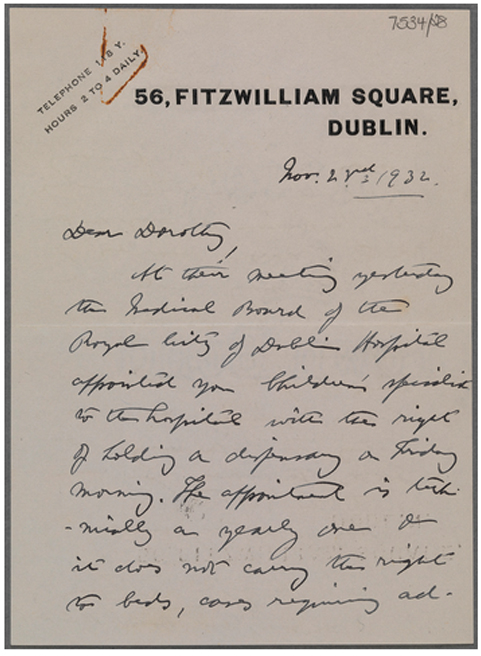 Letter appointing Price as Children's Specialist of the Royal City of Dublin Hospital. 23 November 1932. TCD MS 7534-28.