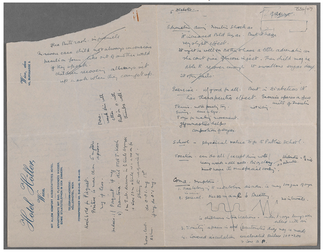 Notes taken by Price in Vienna in the mid-1930s. TCD MS 7534/47.