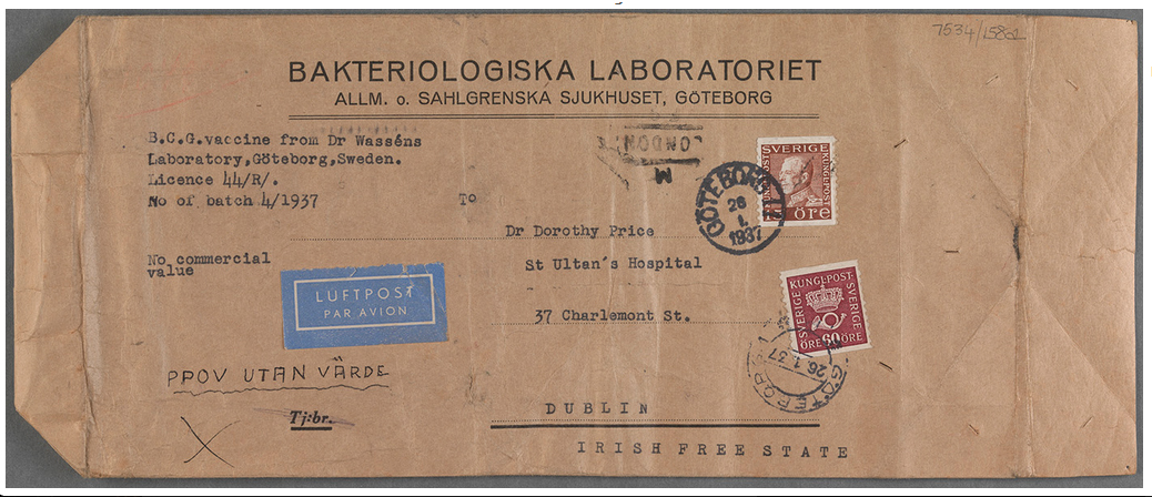Package from Anders Wassen to Dorothy Price, formerly containing BCG vaccine. 26 January 1937. TCD MS 7534/158a.