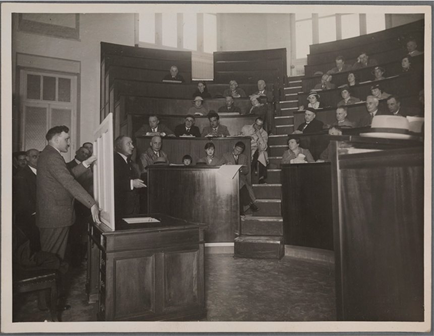 Photograph taken during a lecture at the Ospedale Maggiore, Turin, 1935. TCD MS 7534/83.