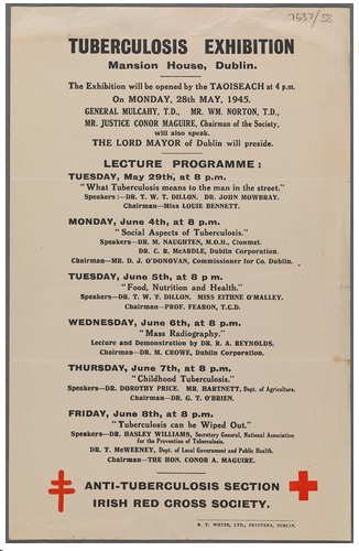 Flyer for the Tuberculosis Exhibition, Mansion House. 28 May 1945. TCD MS 7537/58.