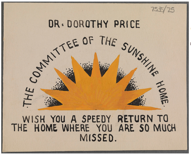 The Sunshine Home. Price worked there during the 1920s and 1930s. TCD MS 7535/25.