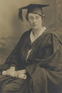 Photograph of Dorothy Stopford, graduating as a Bachelor of Medicine, Trinity College Dublin. 1921. TCD MS 7534/5