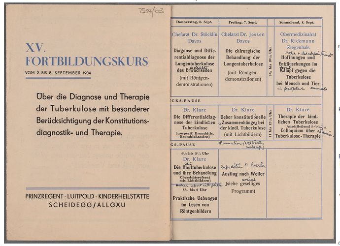 Timetable for a refresher course in the diagnosis and treatment of TB, Scheidegg, Bavaria, September 1934. TCD MS 7534/63.